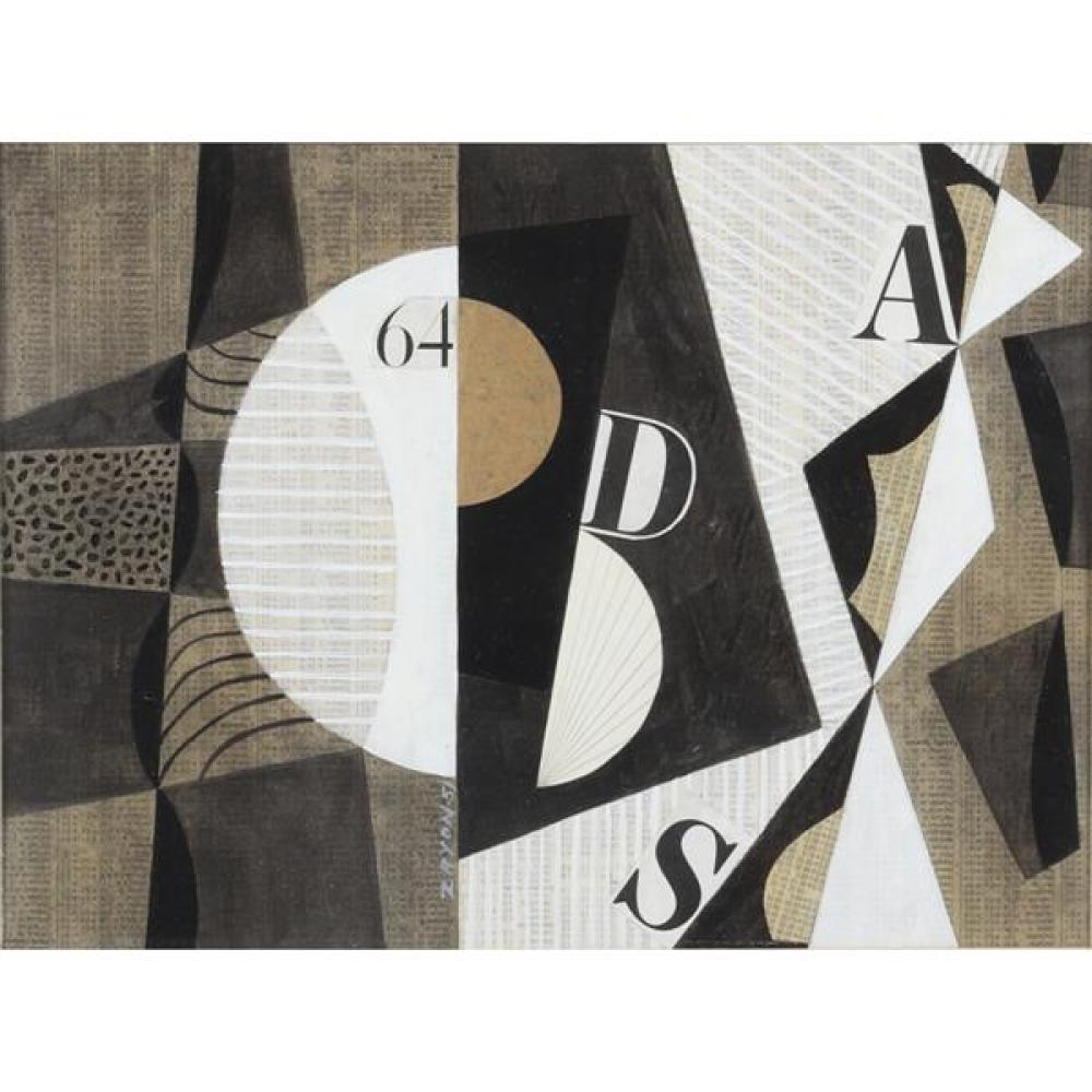 "Seymour Zayon, (Pennsylvania, b. 1930), untitled, 1951, collage on printed paper, 8 1/2""H x 11 1/2""W (sight), 13""H x 16""W (frame)"