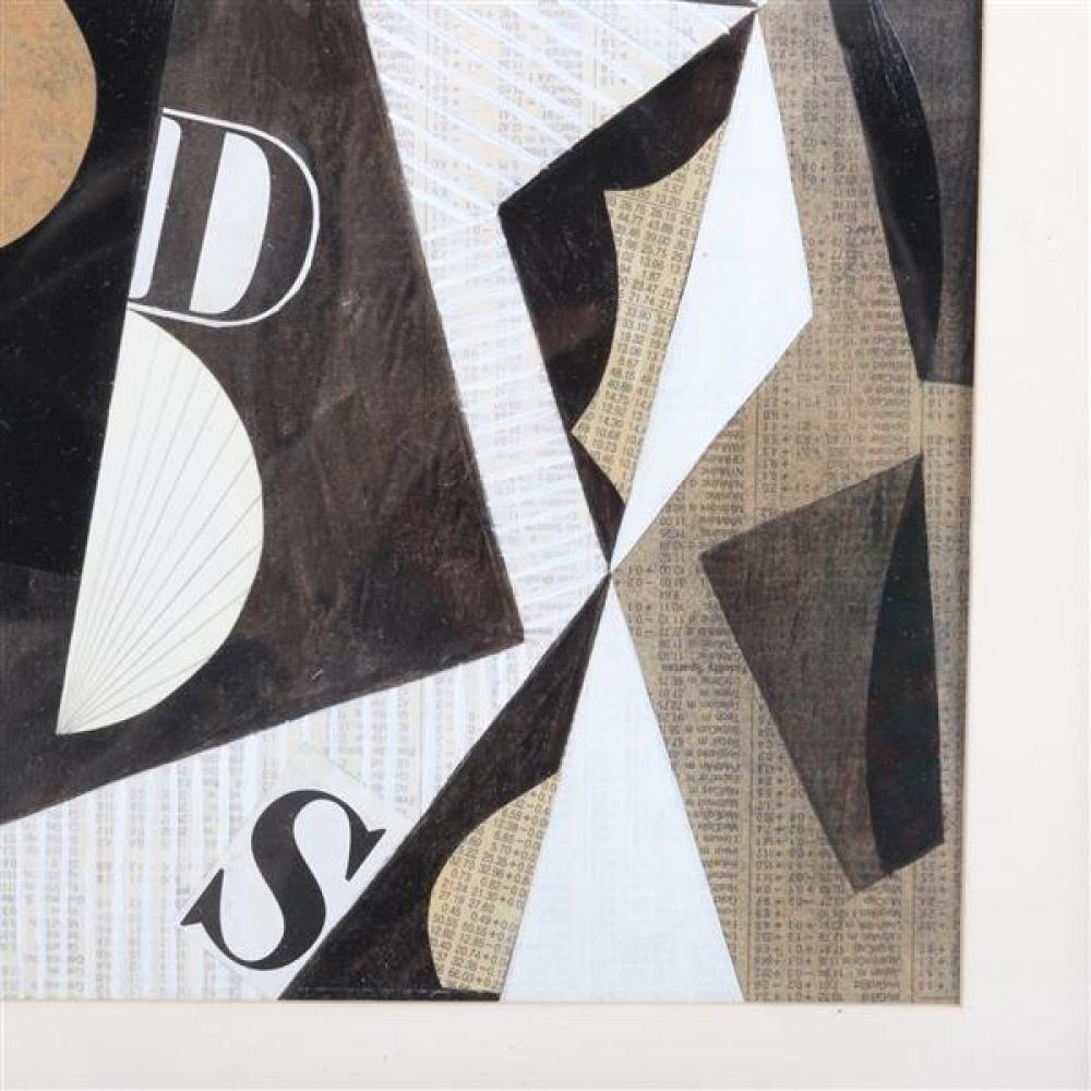 Seymour Zayon, (Pennsylvania, b. 1930), untitled, 1951, collage on printed paper, 8 1/2
