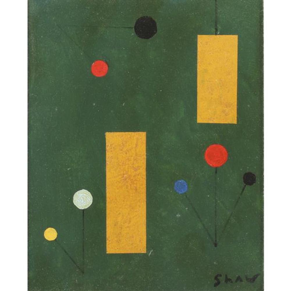 "Charles Green Shaw, (American, 1892 - 1974), untitled, 1940, oil on board, 9 1/4""H x 7 1/2""W (sight), 12""H x 10 1/4""W (frame)"