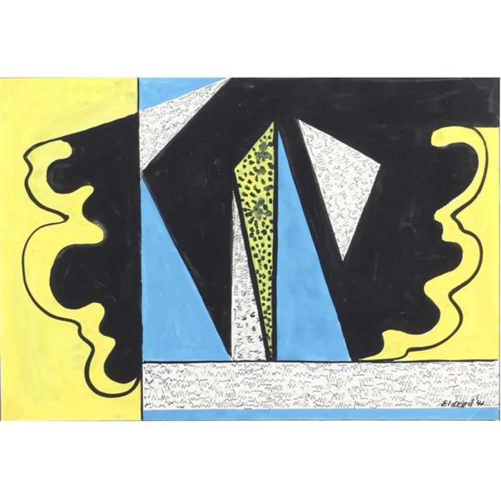 "Thomas Eldred, (New York / Michigan, 1903-1993), untitled abstract, 1944, gouache / ink on paper, 11 3/4""H x 16 3/4""W (sight), 17""H..."