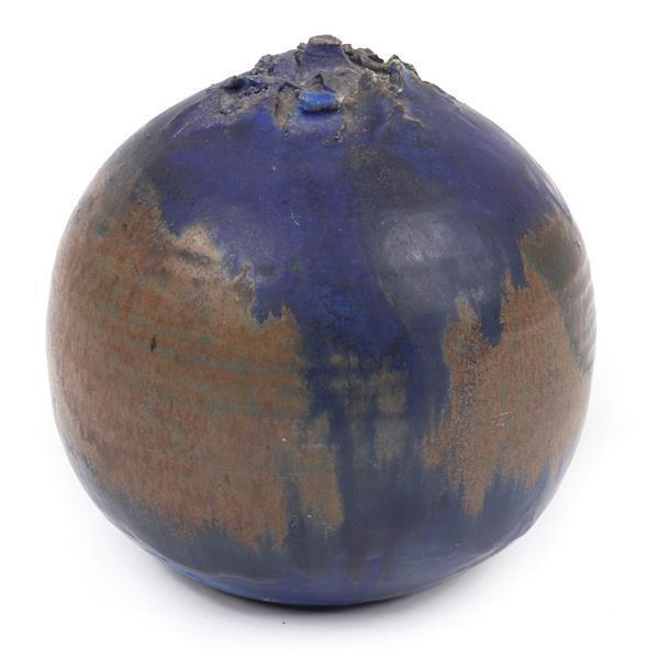 "Toshiko Takaezu, (American / Japanese, 1922-2011), ceramic vessel with textured detail, glazed stoneware, 6 1/2""H x 5""Diam"