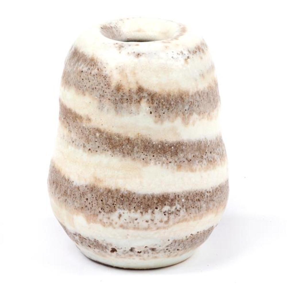 """Lucie Rie, (Austria / England, 1902-1995), globular vessel, white striped volcanic glazed stoneware, 3 3/4""""H x 2 3/4""""Diam"""