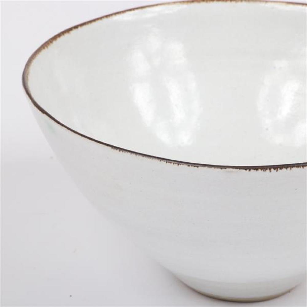 "Lucie Rie, (Austrian, 1902-1995), bowl, white glaze with copper rim, 3""H x 5 3/4""Diam"
