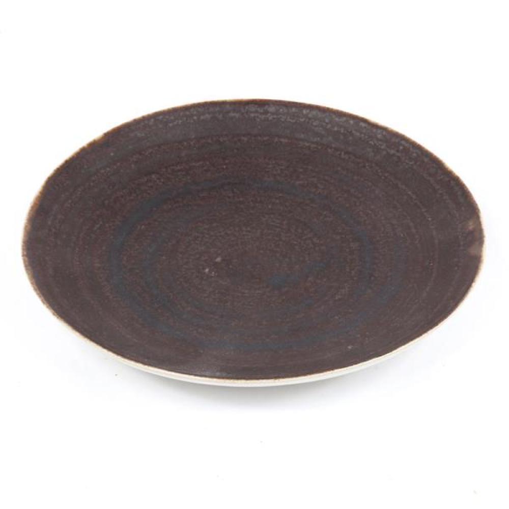 "Lucie Rie, (Austrian, 1902-1995), small plate, white glaze with dark brown interior, 1""H x 5 1/2""Diam"