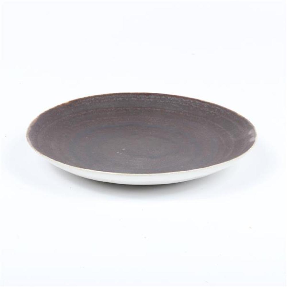 Lucie Rie, (Austrian, 1902-1995), small plate, white glaze with dark brown interior, 1