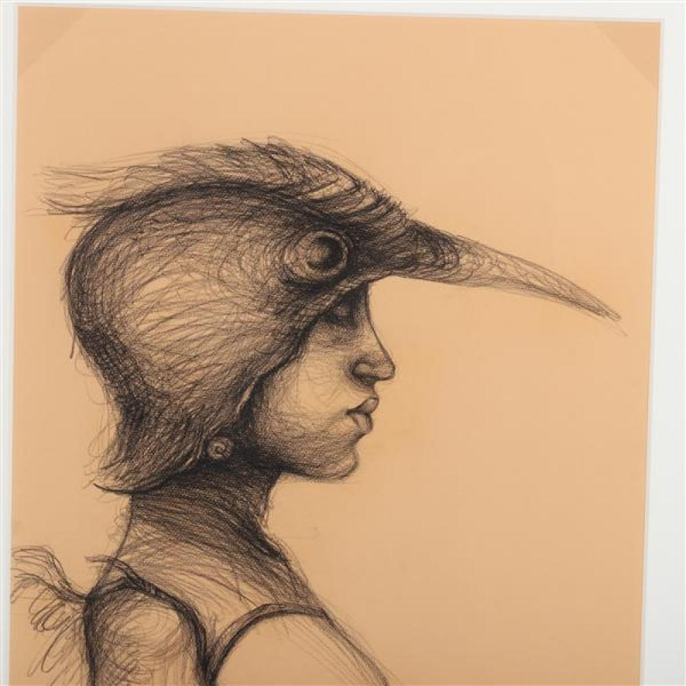 Roberto Fabelo, (Cuban, b.1950), untitled, 2007 (female nude bird figure), charcoal and graphite on paper, 24 3/4