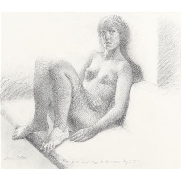 "Alan Feltus, (District of Columbia / Italy, b.1943), female nude, 1973, graphite / pencil on paper, 13""H x 14 3/4"" (sight), 20 1/2""H..."