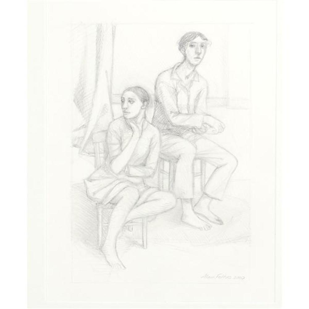 """Alan Feltus, (District of Columbia / Italy, b. 1943), seated couple, 2007, graphite on paper, 12 1/2""""H x 9 1/2""""W (sight), 22""""H x 19..."""