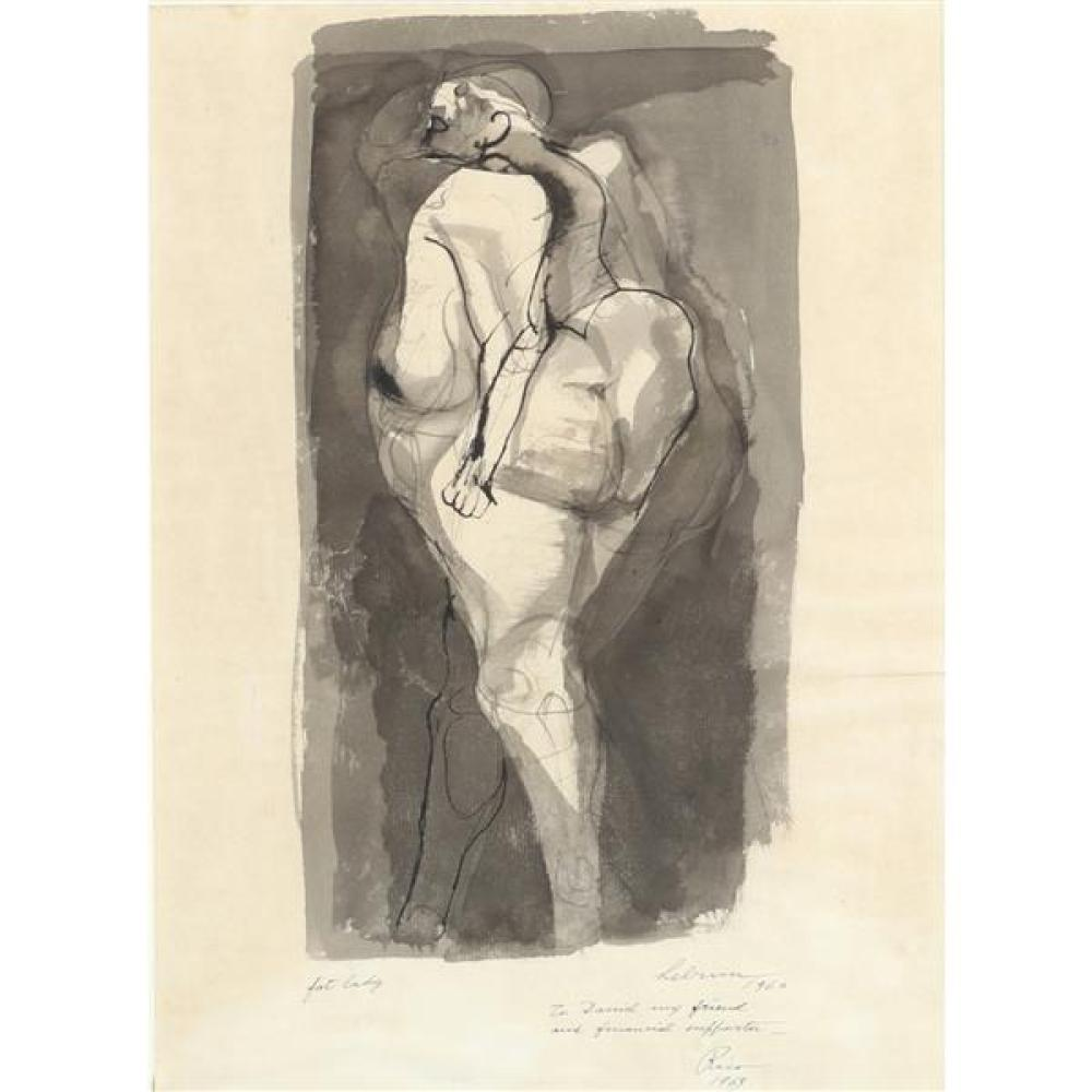 """Rico LeBrun, (California / New York / Italy, 1900 - 1964), Fat Lady, 1960, ink wash on paper, 17 1/2""""H x 24 3/4""""W (sight), 24""""H x 19..."""