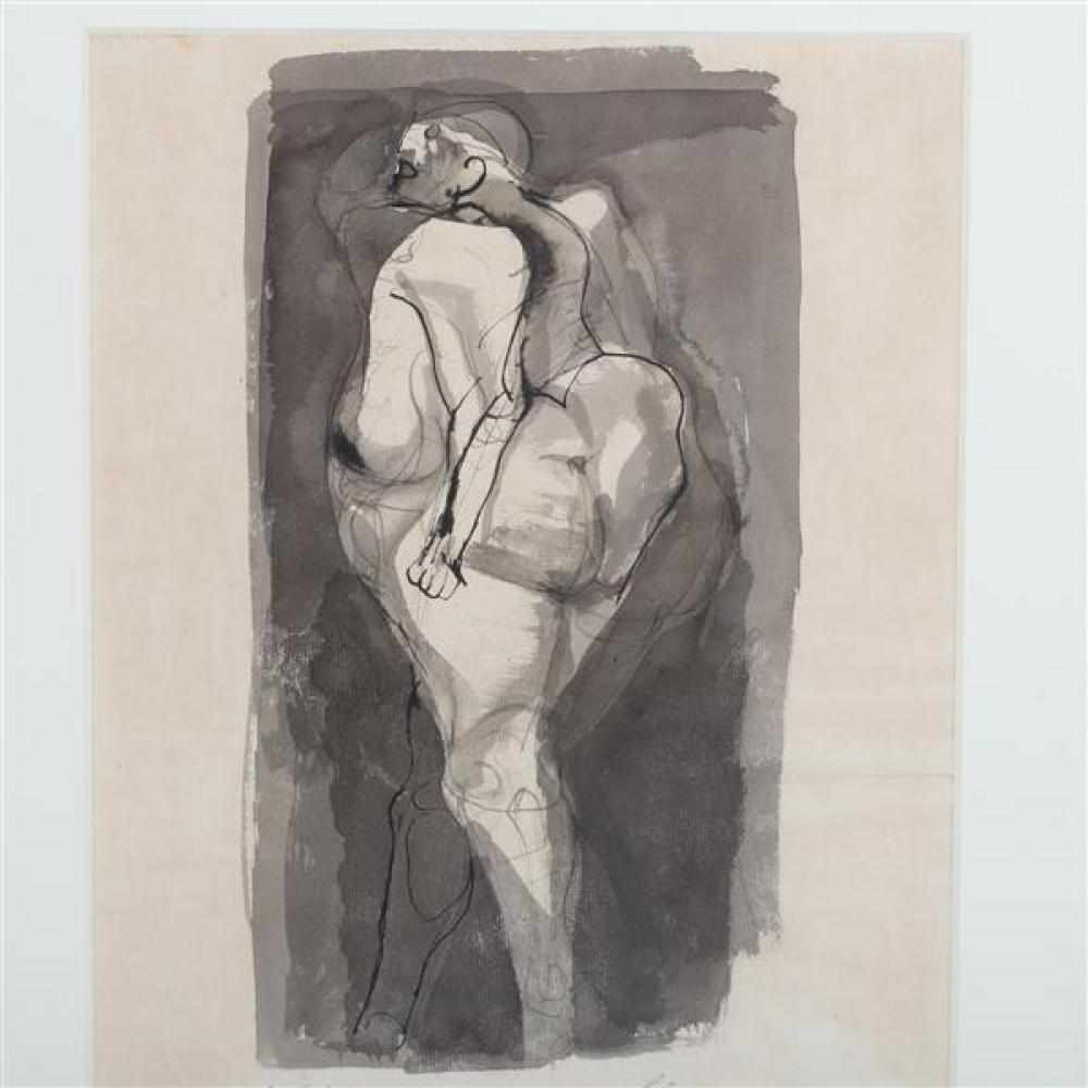 Rico LeBrun, (California / New York / Italy, 1900 - 1964), Fat Lady, 1960, ink wash on paper, 17 1/2
