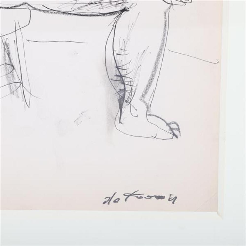 "Willem de Kooning, (Dutch, 1904 - 1997), seated nude, ca.1934, pen and ink with crayon on paper, 13""H x 9 3/4""W (sight), 18 3/4""H x..."