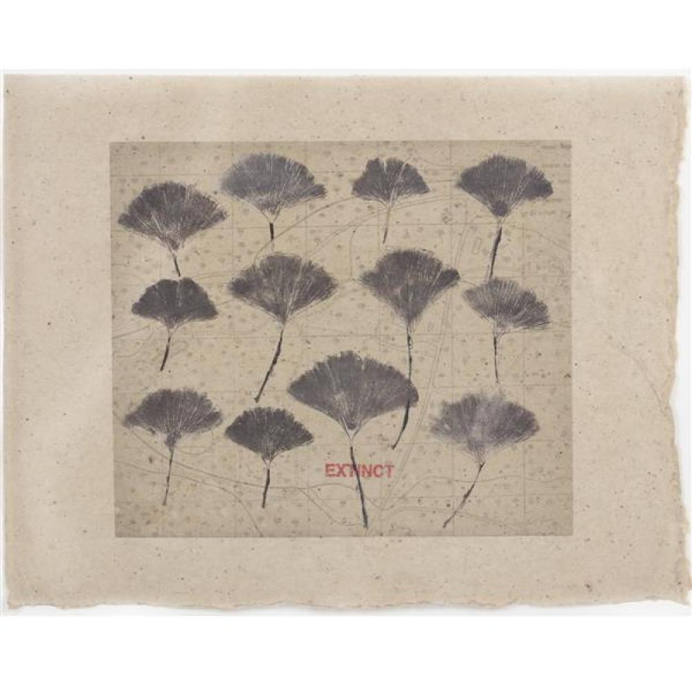 "Michelle Stuart, (California, b. 1940), untitled, (Gingko), mono print and mixed media on handmade paper, 16""H x 20 1/2""W (sight), 1..."