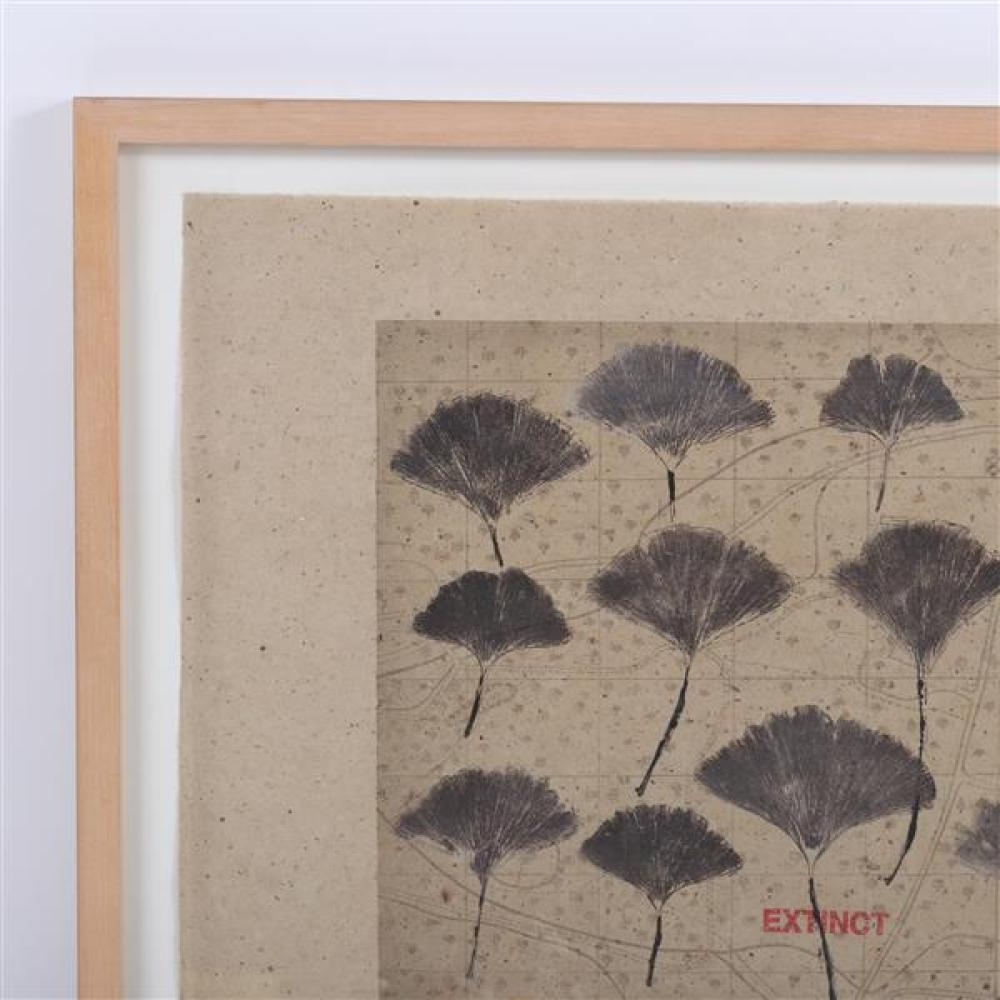 Michelle Stuart, (California, b. 1940), untitled, (Gingko), mono print and mixed media on handmade paper, 16