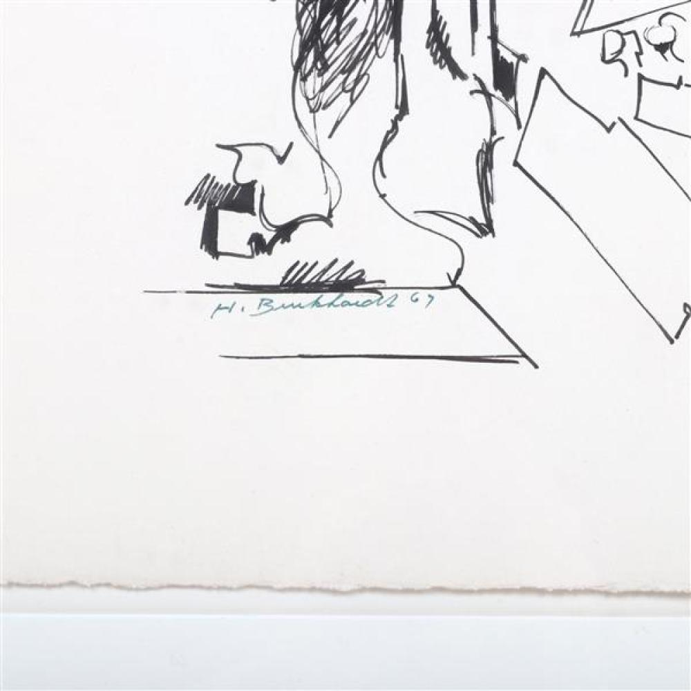 """Hans Gustav Burkhardt, (New York / California, 1904 - 1994), Sign of Our Time, 1967, ink on paper, 19 3/4""""H x 26""""W (paper), 27""""H x 3..."""