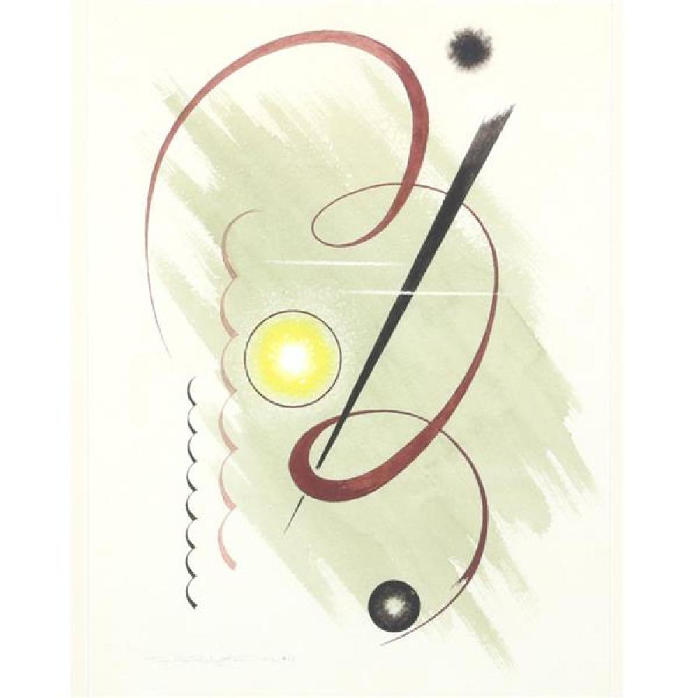 "Thomas Arthur Robertson, (Louisiana / Arkansas, 1911-1976), #12, 1942, watercolor on paper, 11 3/4""H x 8 3/4""W (sight), 18 3/4H x 15..."