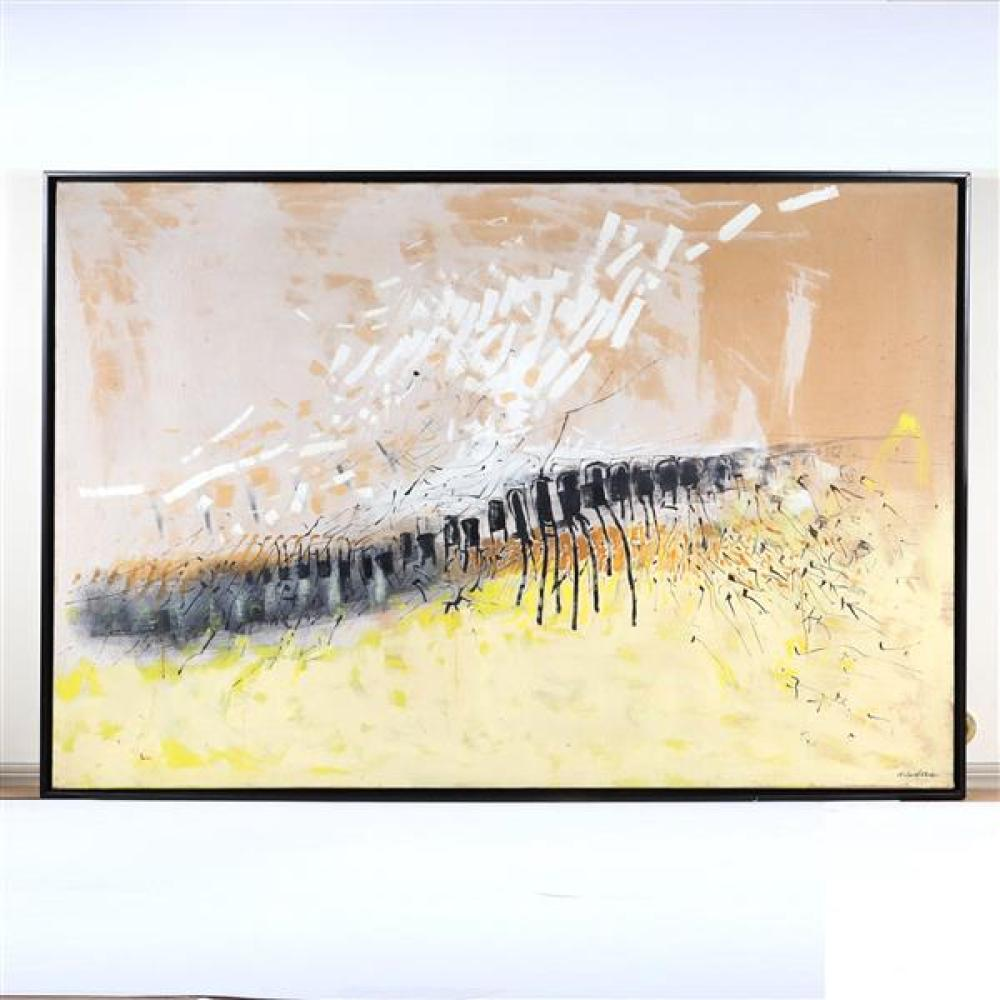 Arthur Deshaies, (American, 1920-2011), abstract landscape, 1955, oil on canvas, 40