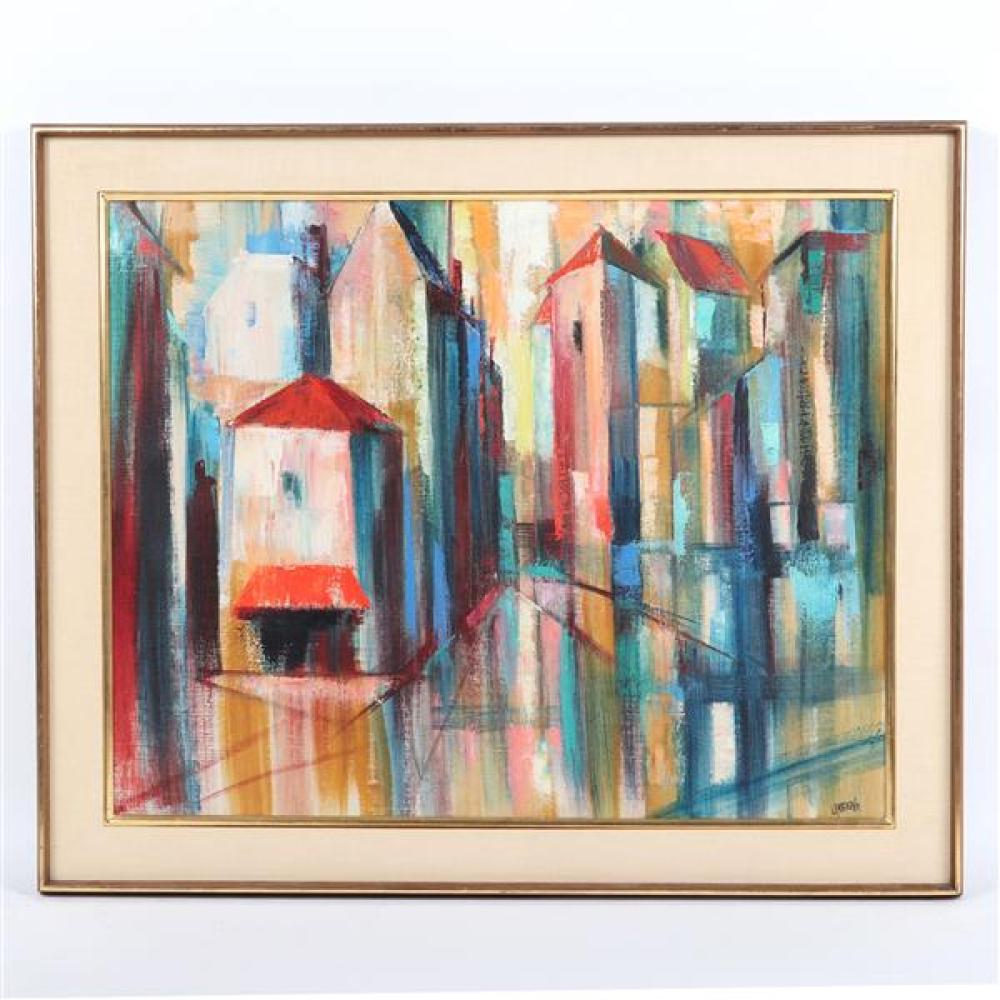 """Gertrude Glass Greene, (New York, 1904-1956), (Attr.) abstract cityscape, oil on canvas, 23 1/4""""H x 29 1/4""""W (sight), 29 1/4""""H x 35..."""