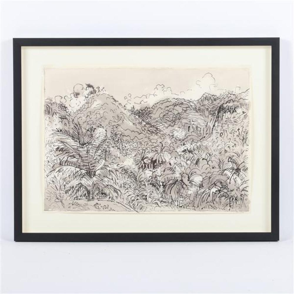 """Nell Blair Walden Blaine, (New York / Massachusetts, 1922-1996), St. Lucia, April 1965, ink wash on paper, 14""""H x 20""""W (sight), 19 1..."""