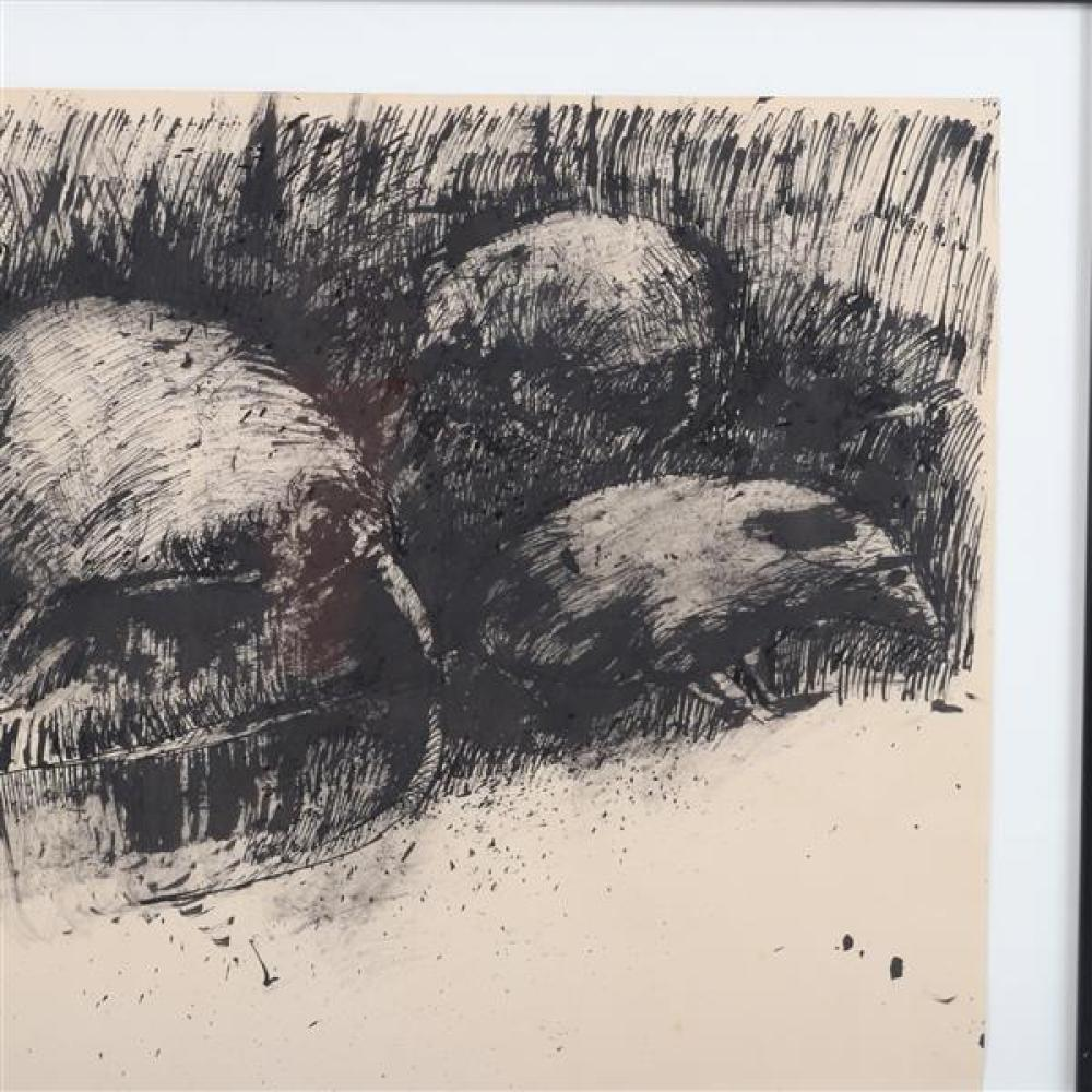 "Robert Andrew Parker, (New York, b. 1927), 'Rats', 1960, ink on paper, 18""H x 23 3/4""W (sight), 23 1/4""H x 29 1/4""W (frame)"