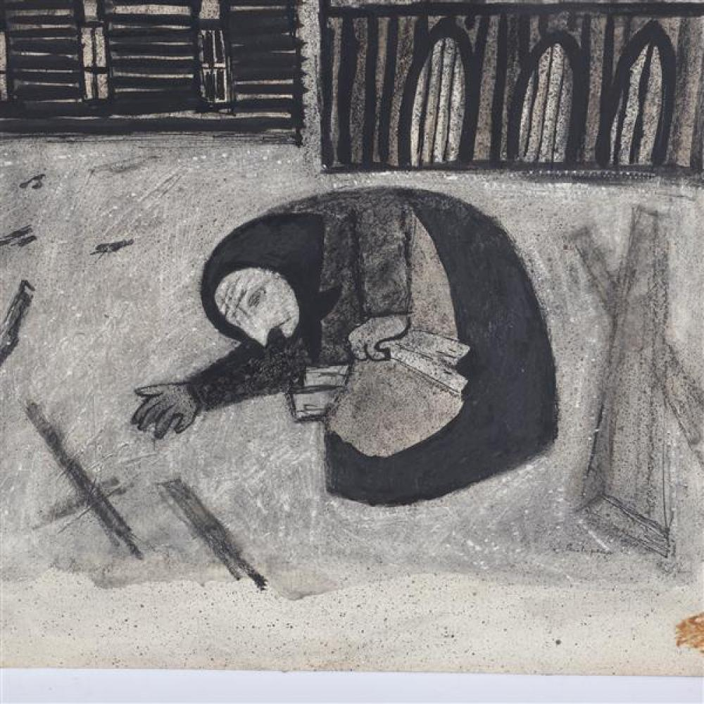 "Gregorio Prestopino, (New York, 1907-1984), Little Grandma, ink wash / watercolor on board, 27 1/2""H x 20 1/2""W"