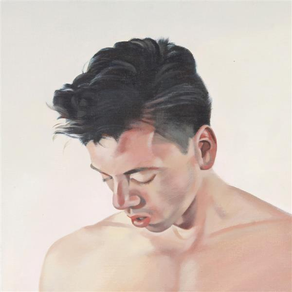 "Kevin Wolff, (American, 21st Century), ""Head"", 1988, acrylic on canvas board, 14""H x 14""W (sight), 15 1/2""H x 15 1/2""W (frame)"