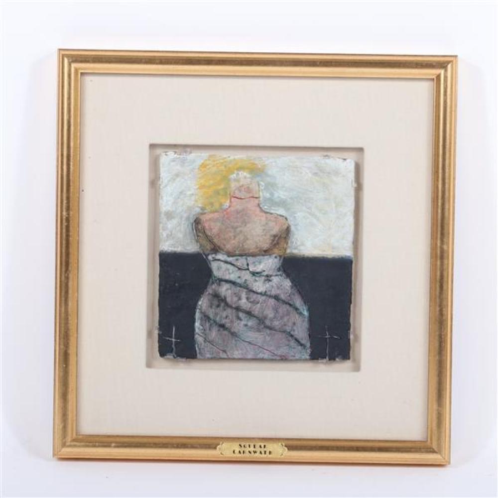 "Squeak Carnwath, (California, b.1947), Bottle Venus, 1988, oil and wax on panel., 7 1/4""H x 6 3/4""W (sight), 14 3/4""H x 14 1/4""W (fr..."