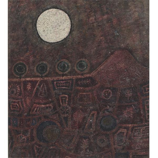 John Christopherson (United Kingdon, 1921-1996) Ring Around The Moon oil on bo...