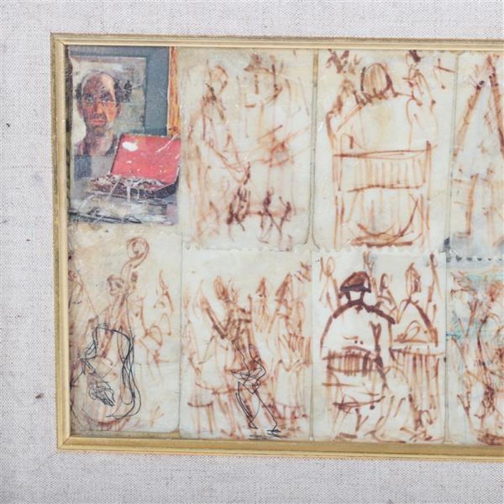Pascal Cucaro, (American, 1915-2004), figure study, mixed media, 7 1/2
