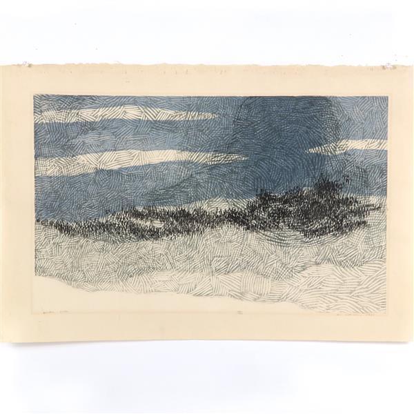 "Ansei Uchima, (New York / California, 1921-2000), Winter Vista, color woodcut, 15 1/2"" x 25 1/4""W (plate), 19 1/4""H x 29 1/4"" (paper..."