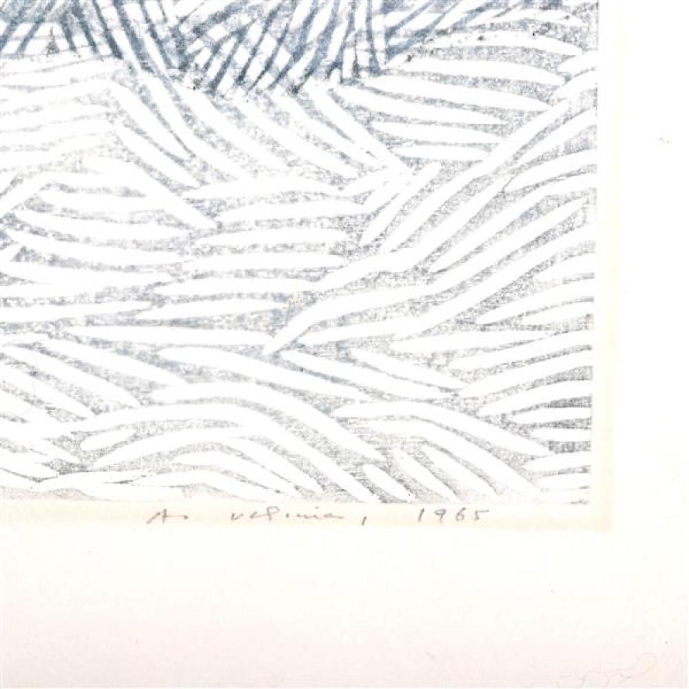 Ansei Uchima, (New York / California, 1921-2000), Winter Vista, color woodcut, 15 1/2