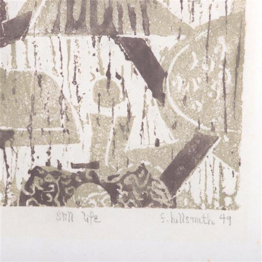 "Fannie Hillsmith, (New York, 1911-2007), Still Life, 1949, color woodcut, 8 3/4""H x 5 1/2""W (plate), 14 1/4""H x 10 1/2""W (paper)"