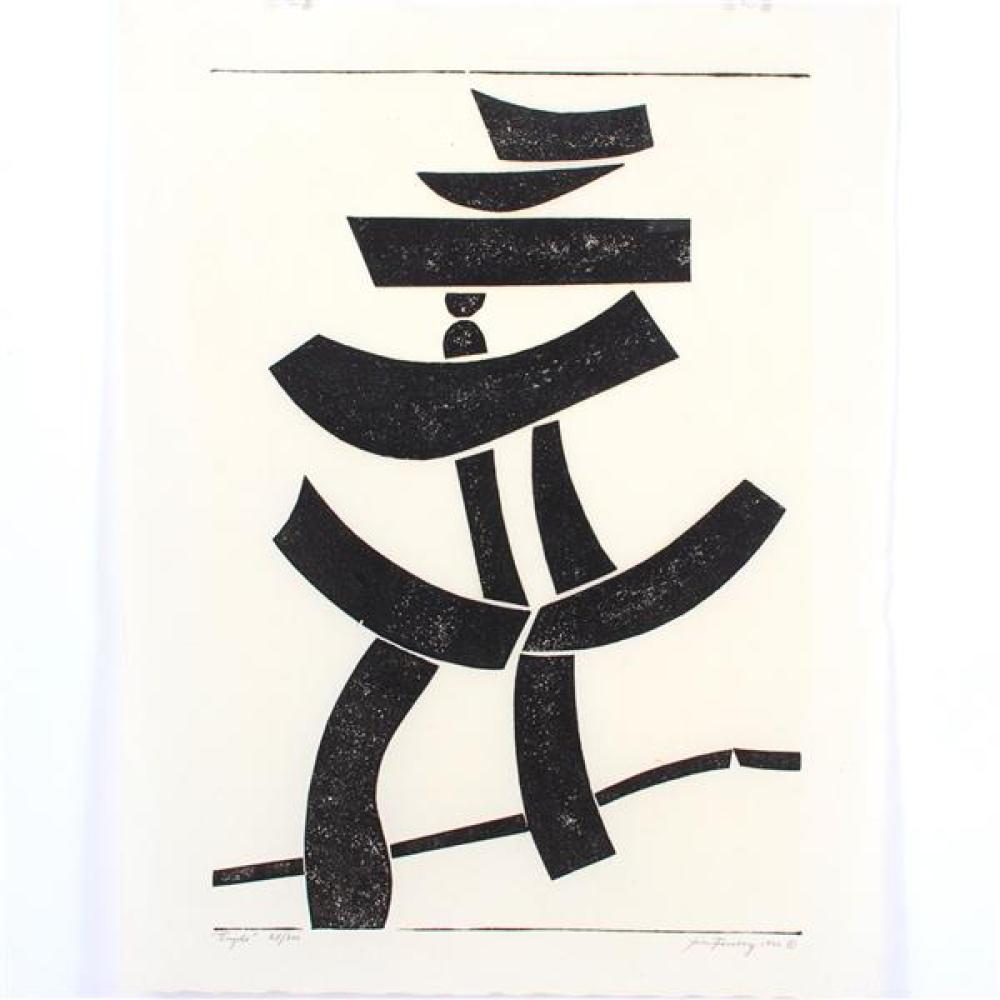 "Jim (James Alfred) Forsberg, (American, 1919-1991), Temple, 1954, woodcut, 19""H x 13 1/4""W (plate), 21 3/4""H x 16 3/4""W (paper)"