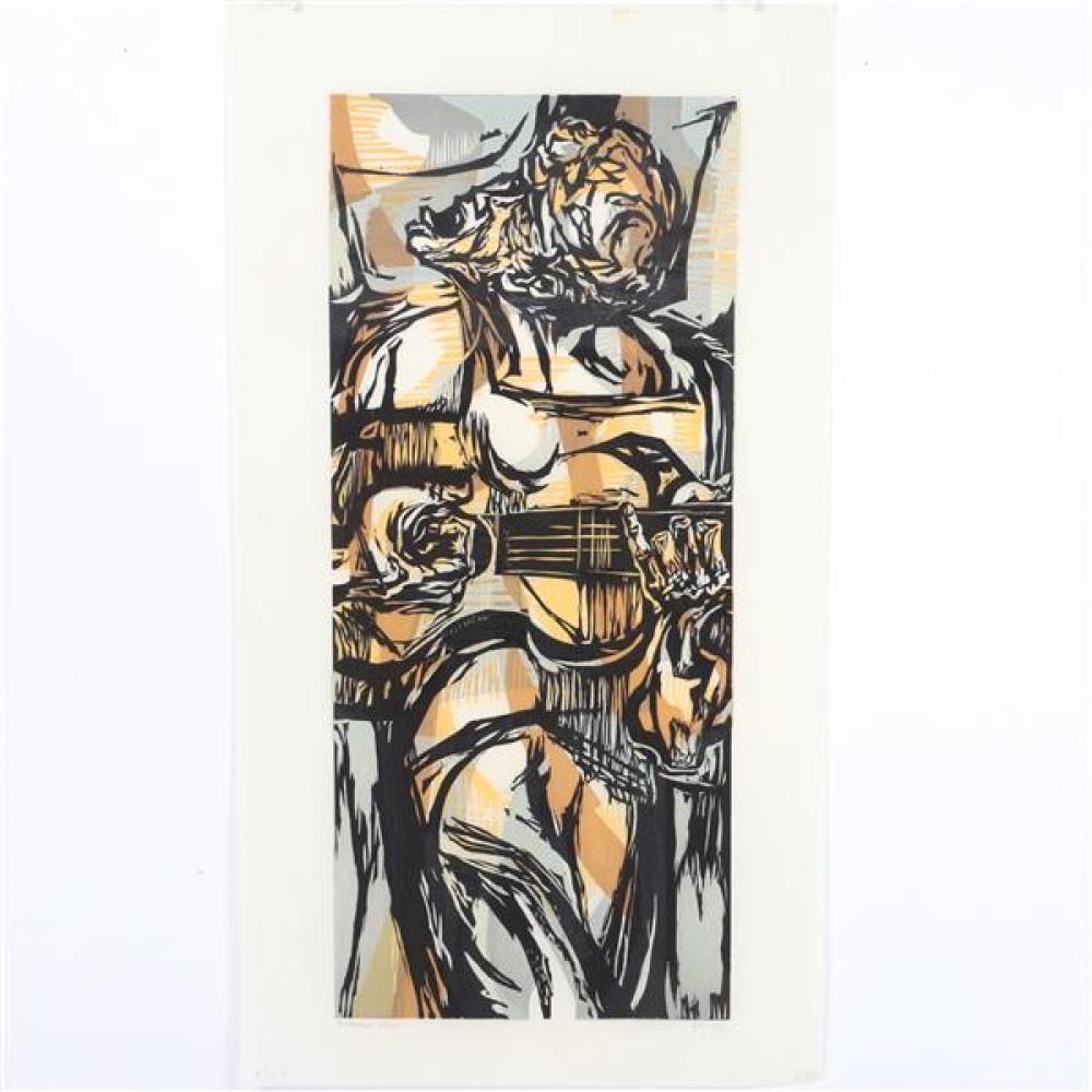 "Mervin Jules, (American, 1912-1994), Folk Songs, 1957, color woodcut, 20 1/4""H x 8 3/4""W (plate), 24""H x 13""W (paper)"