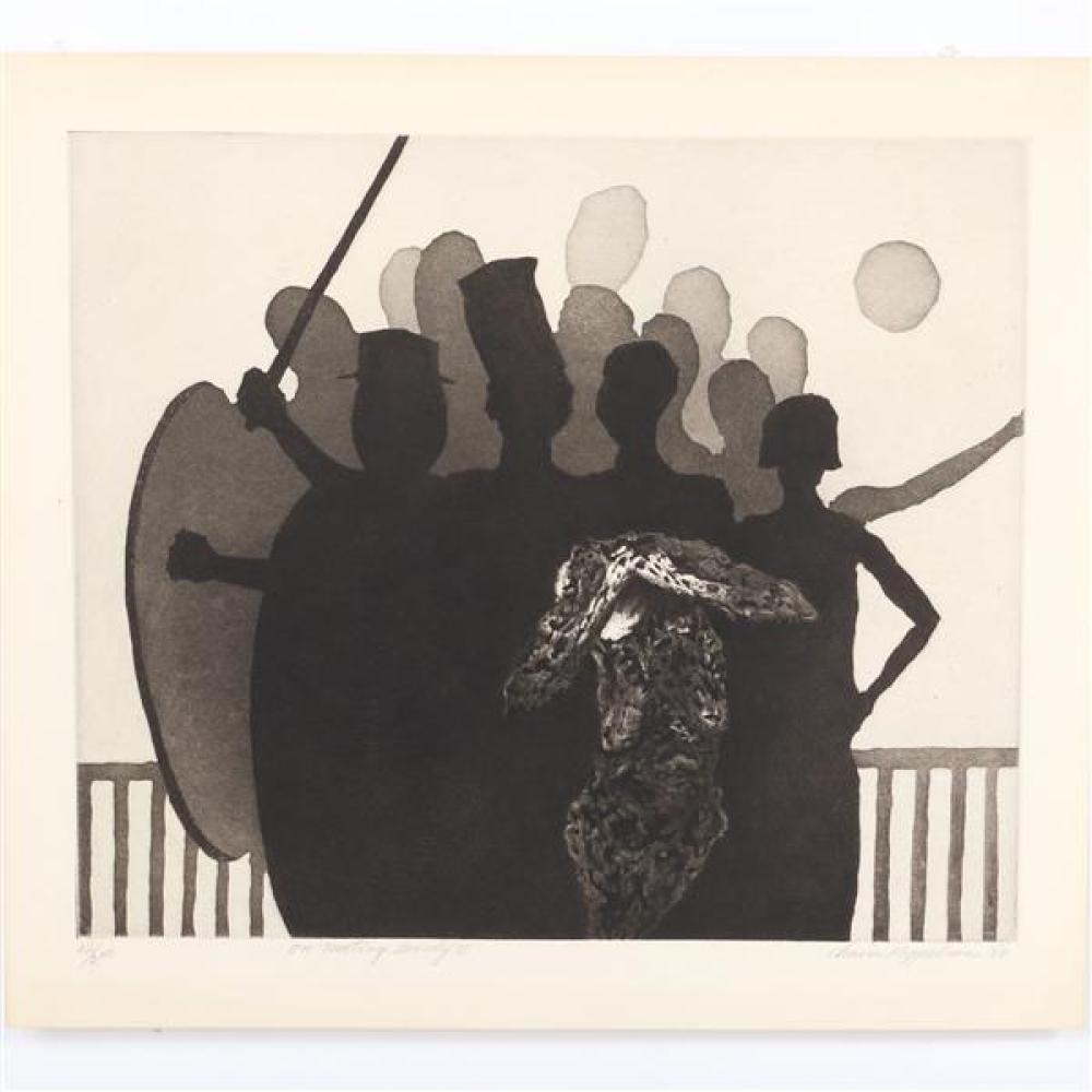 "Chaim Koppelman, (American, 1920-2009), On Meeting Beauty II, 1958, etching, 14 1/2""H x 17""W (plate), 17 1/2""H x 19 3/4"" (paper)"