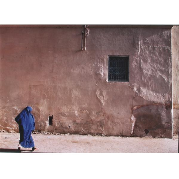 "Jeffrey N. Becom, (American, b. 1953), Woman in Blue Burka, 1987, large scale photograph / chromogenic print, 20""H x 28 3/4""W (sight..."