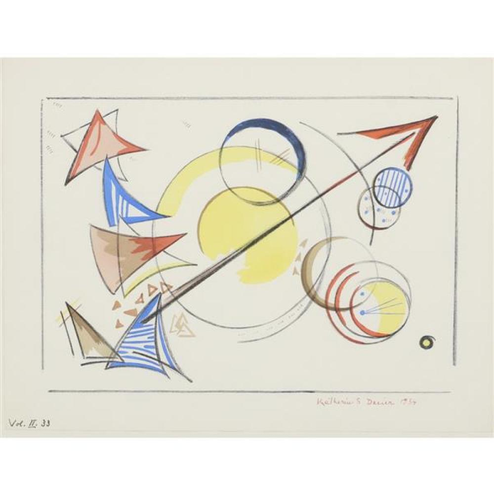 "Katherine Sophie Dreier, (American, 1877 - 1952), Vol. II 33, 1934, lithograph with pochoir, 10 3/4""H x 14""W (paper), 14 3/4""H x 18""..."
