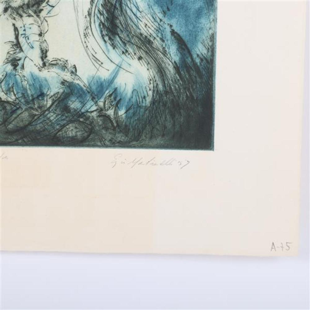 "Ezio Martinelli, (1913-1980), Net and Triton, 1957, color etching, 17 1/4""H x 11 3/4""W (plate), 22""H x 15 3/4""W (paper)"