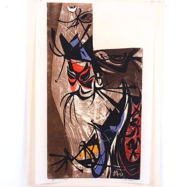 "Seong Moy, (Chinese, 1921-2013), Yen Shang, 1952, color woodcut, 20""H x 12 3/4""W (plate), 20 3/4""H x 14 3/4""W (paper)"