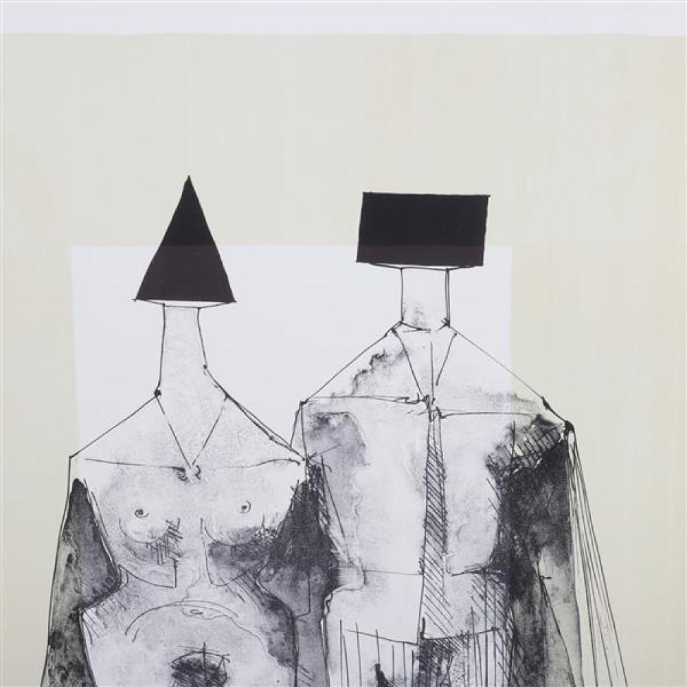 Lynn Russell Chadwick, (British, 1914-2003), two figures, 1973, lithograph, 21