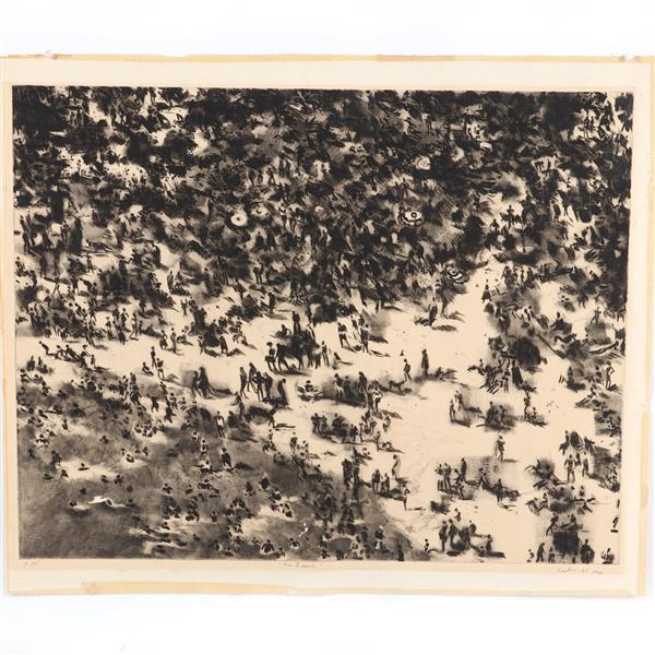 """Gerson August (Gus) Leiber, (American, 1921-2018), The Beach, etching, 22""""H x 28 1/4""""W (plate), 24 1/2""""H x 29 1/2""""W (paper)"""
