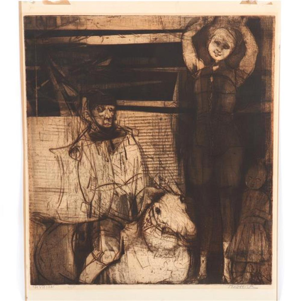 """Mauricio Lasansky, (Argentinian American / New York, 1914 - 2012), The Vision, etching, 12 1/2""""H x 21 3/4""""W (plate). 26 1/2""""H x 22 1..."""