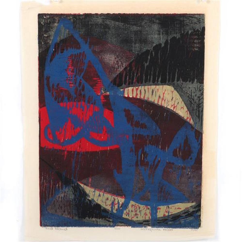 "Hildegarde Haas, (New York / California / Germany, 1926-2002), Red Island, 1948, color woodcut on rice paper, 15""H x 11 1/2""W (plate..."