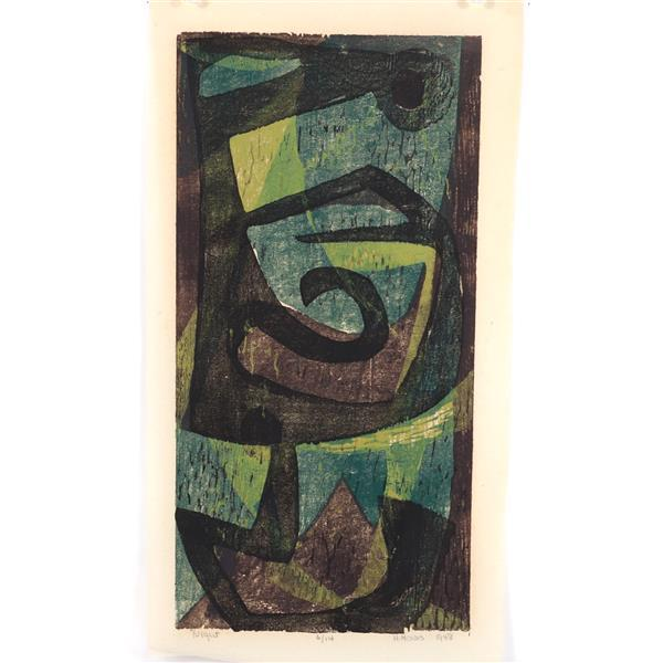 "Hildegarde Haas, (New York / California / Germany, 1926-2002), Night, 1948, color woodcut, 16""H x 7 3/4""W (plate), 18""H x 9 1/2""W (p..."