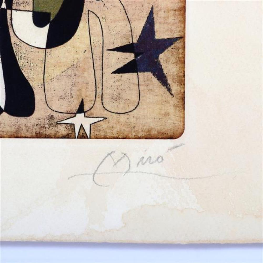 """Joan Miro, (Spanish, 1893-1983), composition, etching with aquatint, 5""""H x 6 1/2""""W (plate), 8 1/4""""H x 11 1/2""""W (paper)"""