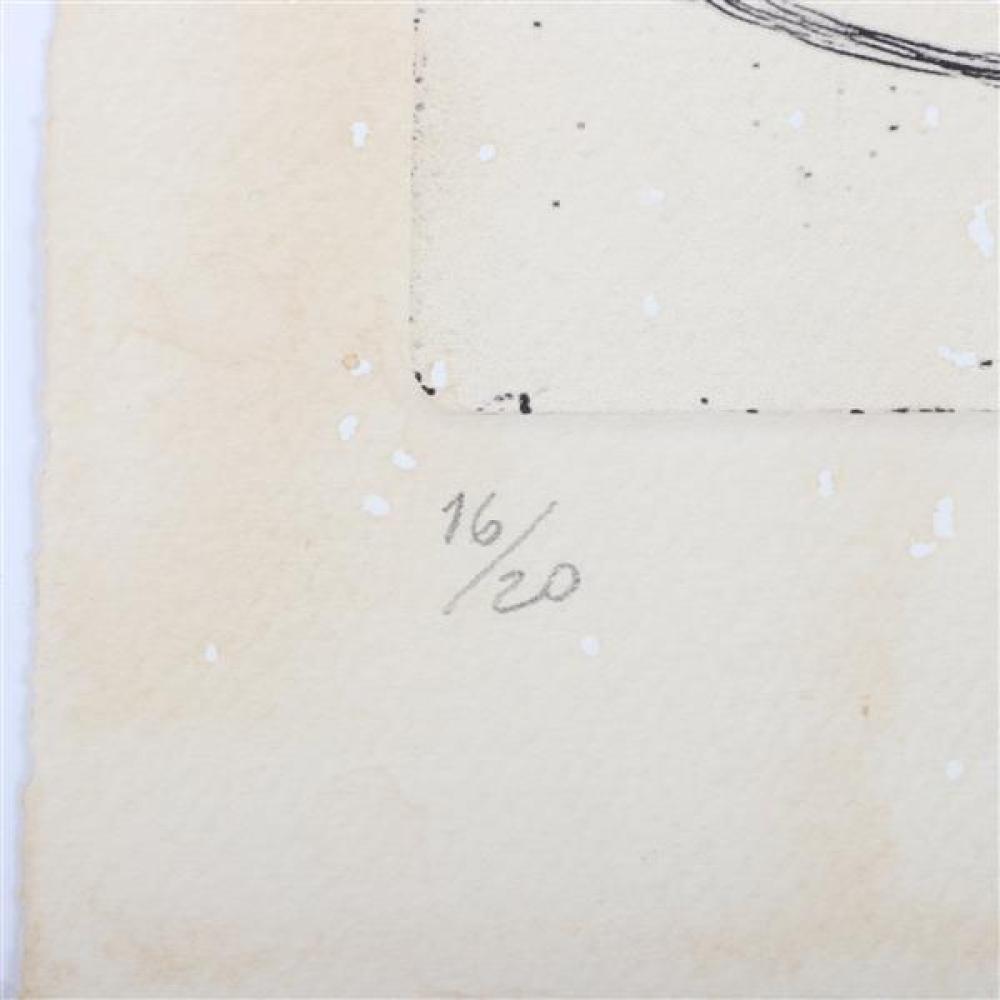 """Man Ray, (1890-1976), After Johannes Baargeld, Das menschliche Auge und ein Fisch, letzterer versteinert, 1920, etching, 5""""H x 4""""W (..."""
