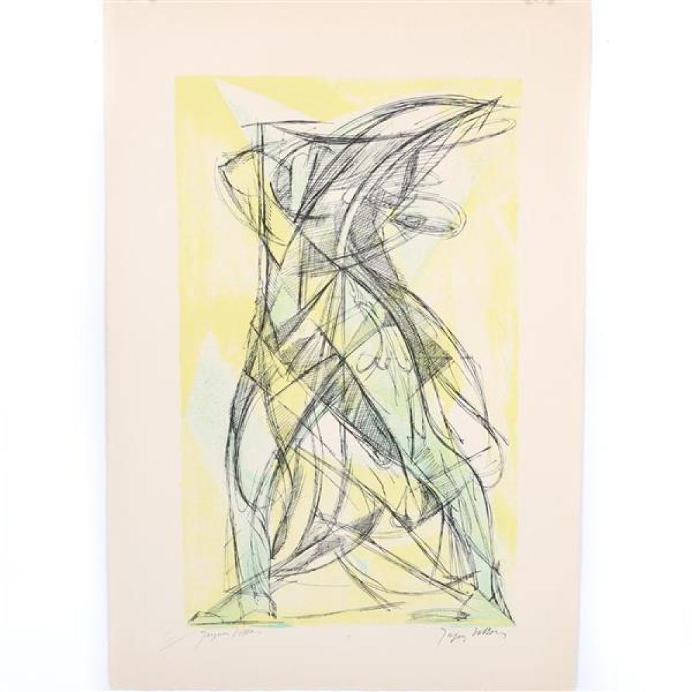 "Jacques Villon, (French, 1875-1963), Nike of Samothrace, lithograph in colors, 17 1/2""H x 10 1/2""W (plate). 22""H x 15""W (paper)"