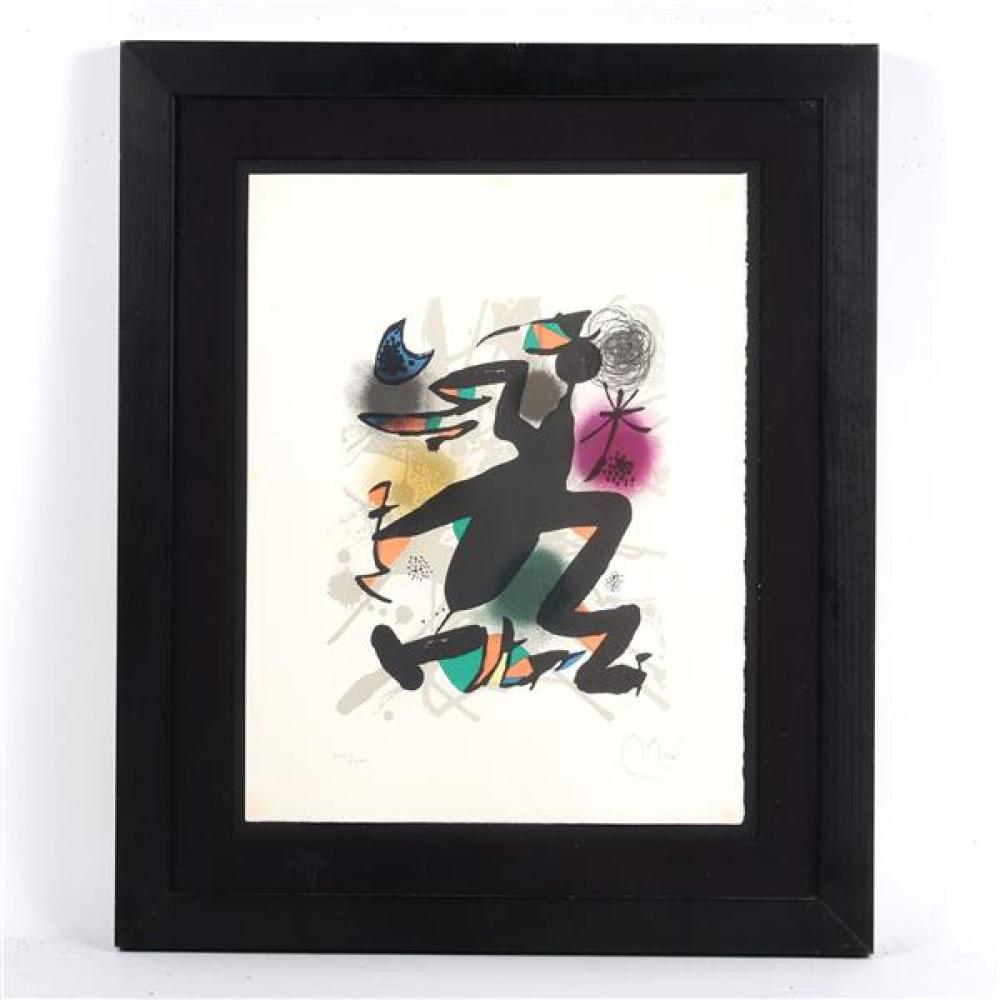 """Joan Miro, (Spanish, 1893-1983), Lithographs III: plate 4, 1977, lithograph in colors on wove paper, 19 1/4""""H x 14 3/4""""W (sight), 27..."""