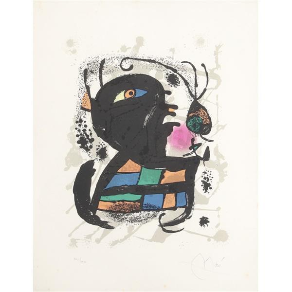 """Joan Miro, (Spanish, 1893-1983), Lithographs III: plate 6, 1977, lithograph in colors on wove paper, 19 1/4""""H x 15""""W (paper), 27 1/4..."""