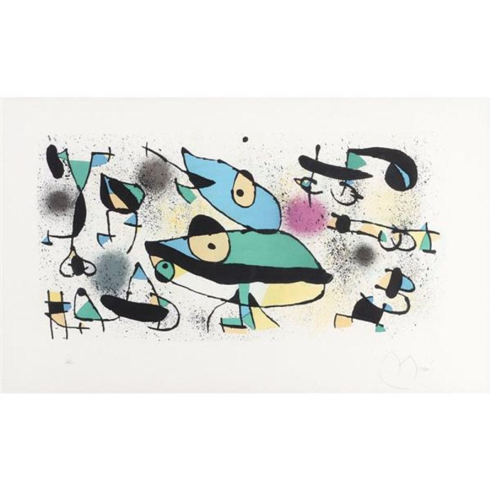 "Joan Miro, (Spanish, 1893-1983), ca.1971, color lithograph, 16 1/2""H x 27 1/4""W (sight), 24""H x 34 1/2""W (frame)"