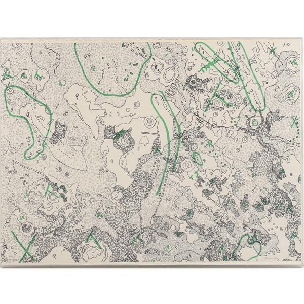 "Nancy Stevenson Graves, (New York / Massachusetts, 1940-1995), Lunar Map IV; ""Julius Ceasar Quadrangle of the Moon"", 1972, lithograp..."
